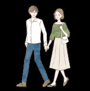 ママ活男子と手をつなぐママ活女性